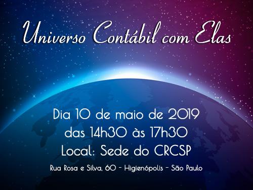 """""""Universo Contábil com Elas"""" 10/05- na Sede CRCSP às 15h"""