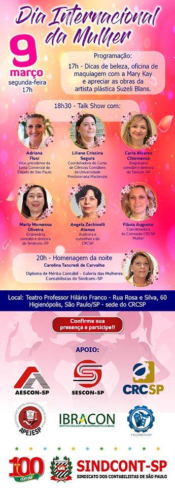 Participe Talk Show Dia Internacional da Mulher em 09/03 na Sede do CRCSP