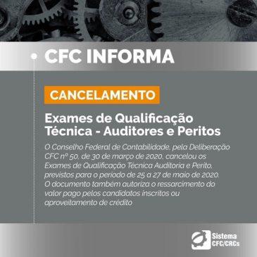 CANCELAMENTO – Exames de Qualificação Técnica – Auditores e Peritos